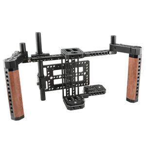 """CAMVATE 5"""" 7"""" LCD Camera Monitor Director's Cage Kit Wooden Handle Cheese Plate"""