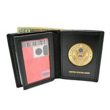 U S Army Medallion Leather Wallet Bi-fold Men's Billfold Black Brown Military