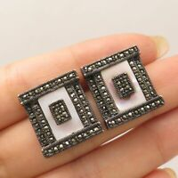 Vtg 925 Sterling Silver Real Marcasite Gems Mother-Of-Pearl Earrings