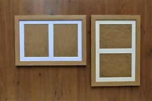 """Double Aperture Mounted Picture Frame Natural Oak finish - for 8x6/6x8"""" prints"""