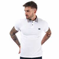 Mens Weekend Offender Snow Check Collar Polo Shirt In White- Short Sleeve- 3