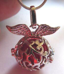 Engelsrufer mit roter Klangkugel an Kette - Engel Schutzengel
