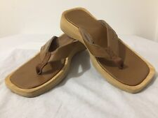 Sanuk Sandals Thongs Brown Faux Leather Fits Like Size 9