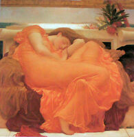 Dream-art Oil painting Frederic Leighton Flaming June nice young lady in yellow