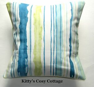 """16"""" New Shabby Chic blue striped fabric cushion cover"""