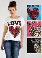 Womens Love Heart Print T-Shirt Top in Black White Blue Pink Ladies Women's New