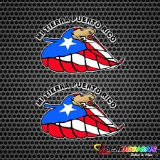 2x COQUI MI TIERRA PUERTO RICO RICAN FLAG LEAF VINYL CAR STICKERS DECALS