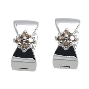 Damen Klapp-Creole Silber 925 Sterlingsilber rhodiniert mit Diamanten Ohrringe