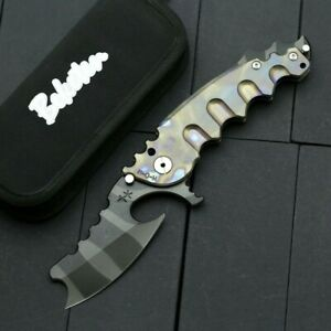 Folding Knife Pocket Flipper Hunting Survival Tactical D2 Blade Titanium Handle