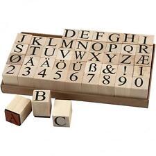 Conjunto de sello de goma de calidad Grande De Madera Alfabeto Letras Números Craft Papelería