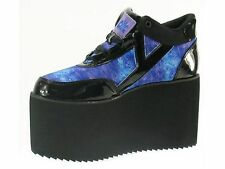 YRU Qozmo Cute to the Core Black Blue Platform Flatform Shoes Trainers Boots 6
