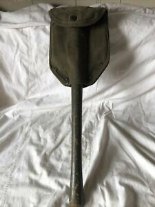Vintage WWII US Army Ames Wood Handle Folding Trench Shovel 1945 with Cover