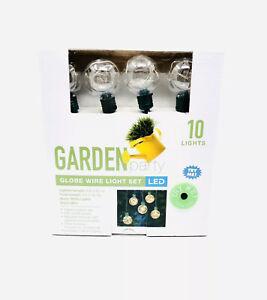 Garden Party Globe Wire Light Set LED 10 Lights 6 Ft Total Indoor/Outdoor NIB