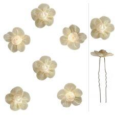 6 épingles cheveux mariage soirée mariée fleur ivoire crème rose satin organza
