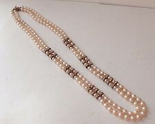 "Necklace Miriam Haskell 31"" 2 Strand Baroque Faux Pearls with Rhinestone Spacers"