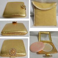 1960s Avon Imperial Jewel Mirror Goldtone Powder Compact Box UNUSED + Cloth Case