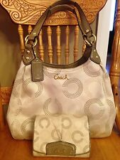 Coach Signature Ashley Op Art Shoulder bag F21920 & Free Wallet MSRP$506