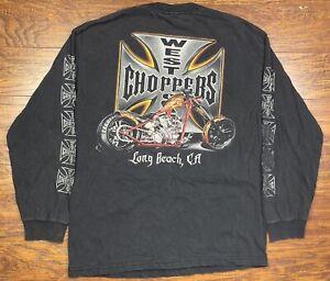 vintage west coast choppers long sleeve shirt large black C3