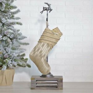 "VHC Brands Glam 11""x15"" Stocking Tan Christmas Fabric Loop Beaded Holiday Decor"