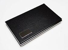Business Name Card Holder Steel Leather Wrap Case Black 3 Pack