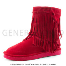 Kali Womens 2 Layer Fringe Fur Lined Faux Suede Boots Nancy (Adults 7 8 9 10 11)