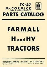 Ih Farmall H Amp Hv Tractor Illustrated Parts Catalog Manual Tc 27