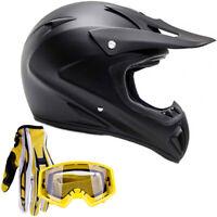 Matte Black Adult Motocross Helmet Combo Yellow Gloves Goggles DOT
