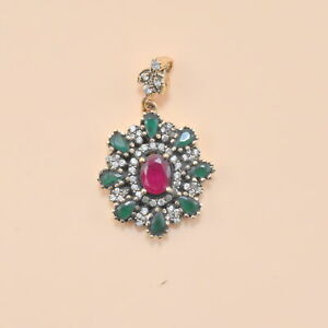 Turkish Jewelry 925 Sterling Silver With Solid Brass Ruby Cz Pendant AL2710
