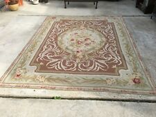 Vintage Hand Knotted Wool Aubusson Area Rug - Antique French Carpet