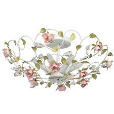 Lustre plafonnier rustique floral en métal blanc avec les fleurs de couleur rose