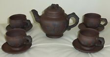 OLD CHINESE YIXING TEAPOT AND CUPS SIGNED AND STAMPED