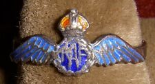 WWII RAF (Royal Air Force) Wing Ring in Enameled Silver, Possibly Sweetheart