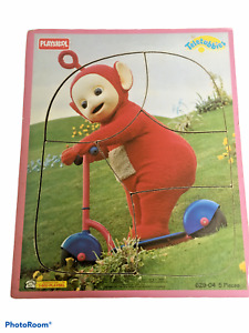 VINTAGE RED TELETUBBIES PO &  SCOOTER Playskool Wood Board Frame Tray Puzzle