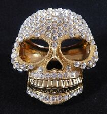 Rare Skull Clamper Bracelet Gold Tone with Crystals