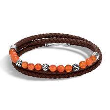John Hardy Sterling Silver Carnelian Bead Triple Wrap Brown Leather Bracelet
