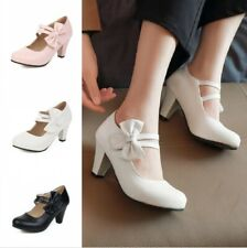 Women Lolita Bowknot Kitten Block Heel Mary Janes Shoes Pumps Size 34/48 7.5cm D