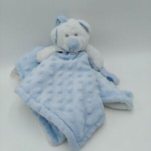 Blankets & Beyond Lovey Pacifier Holder Security Blue Minky Dots Teddy Bear