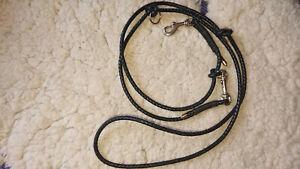 Dog Lead, Leather, Braided, Black, 0 5/16in Diameter