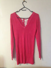 SEXY BODY WATCH LACE UP THE BACK STRETCH TOP  - HOT PINK BNWT SZ L e43