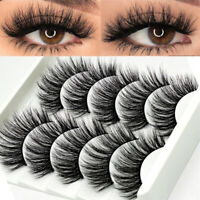 5 Pair 3D 100% Mink False Eyelashes Wispy Cross Long Thick Soft Fake Eye Lashes