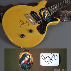 Johnny Thunders Our Lady of Sorrows stickers Gibson Les Paul Junior TV Autograph