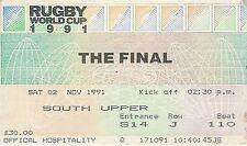 Australia v England - FINAL 2 Nov 1991  Twickenham RUGBY WORLD CUP TICKET