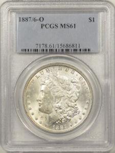 1887/6-O MORGAN DOLLAR PCGS MS-61, BLAST WHITE & WELL STRUCK, TOUGH DATE!