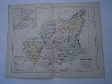 Carte 19° 1852  couleur atlas Malte brun Département Basses Alpes plan de Digne