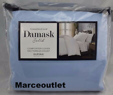 Charter Club Damask Solid 550 Thread Count KING Duvet Cover Horizon Blue