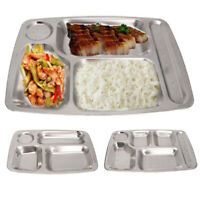 Reusable Food Tray Stainless Steel Metal Cafeterias Camping Food Serving Durable