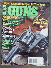 GUNS MAGAZINE 1993 AUGUST .44 REMINGTON WCF REVOLVER 9MM HAND FIREARM ARMS SHOOT