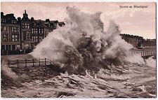 Storm at Blackpool - Vintage Postcard - 1917 - King George V Halfpenny Stamp