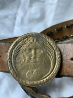 Vintage BERGAMOT Brass Works Napoleon round buckle and belt size 32