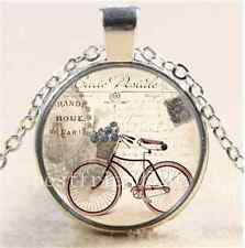 Vintage Bicycle Photo Cabochon Glass Tibet Silver Chain Pendant Necklace